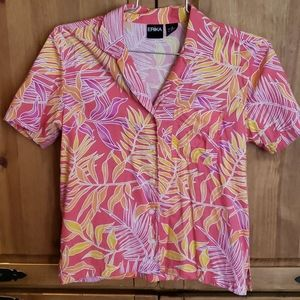 Erika Hawaiian Print Button Down Shirt